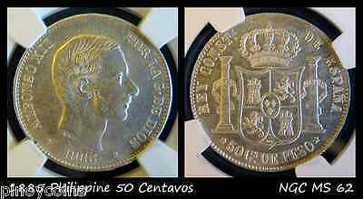 1885 Spanish Philippines 50 Centimos, NGC MS 62, High Grade Uncirciculated