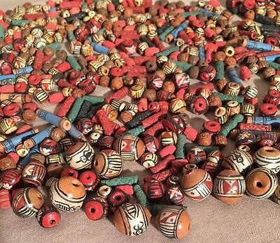 Large Lot of Vintage Handmade Handpainted Mexican Clay Pottery Beads Tlaquepaque
