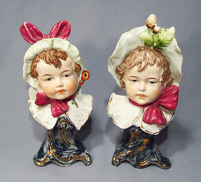 Antique Germany ? Porcelain Victorian Girl Child Pair of Bust Figurines - WOW!