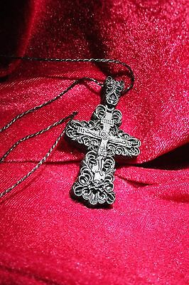 Free shipping! Wooden Carved Neck Cross Bog Oak antique wood. Orthodox. Rare