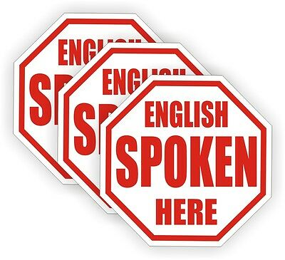(3) English Spoken Here Hard Hat Decals / Labels Stickers Funny Foreman Laborer