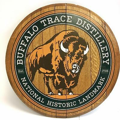 Buffalo Trace Whiskey Distillery Wooden Barrel Top Sign