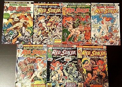 Marvel Feature#1-7 Fn/vf Lot 1975 Red Sonja  Bronze Age Comics