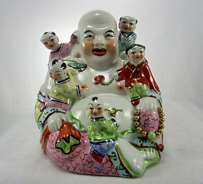 """Vintage Chinese 8.5"""" Porcelain Famille Rose Happy Buddha with 5 Children Statue"""