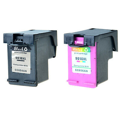 2 PK COMPATIBLE HP 901XL Ink Cartridge CC654AN CC656A For
