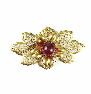 Large Vintage 3D Flower Brooch Brushed Gold Tone Pin Layered