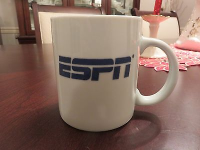 "Rare ESPN White Ceramic Blue Logo 3.75"" Coffee Tea Mug EUC"