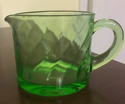 Vintage Green Depression Glass Creamer-Swirl Pattern- with Handle 2118
