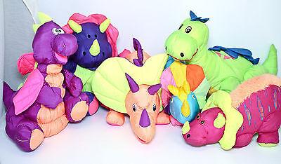 Dinosaur Nylon Plush Lot Dino Triceratops Puffalump Style Stuffed Animal Vintage