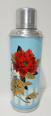 Vintage Chinese Plum Blossom Blue Floral Metal Thermos Glass Cork Stopper Cup