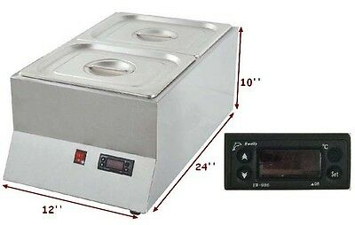 220V 2 Pan Well Bain Marie Chocolate Tempering Melter Dry Heating Warming