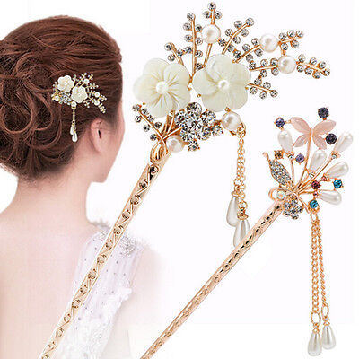 Women Elegant Wedding Gift Hair Pin Colorful Hairpin Rhinestone Hair Stick