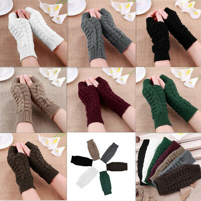 Fashion Men Women Knitted Fingerless Winter Gloves Soft Warm Mitten Solid Stock