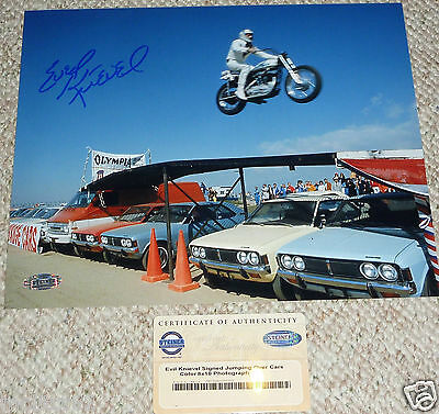 EVEL KNIEVEL Autographed Signed Car Jump 8x10 PHOTO STEINER HOLOGRAM EVIL COA