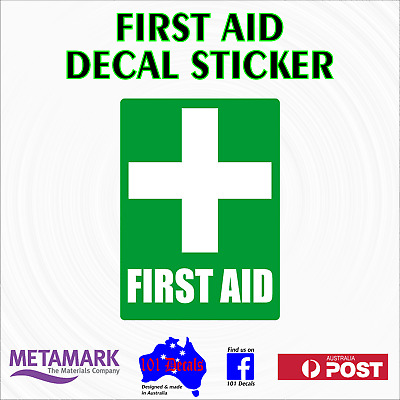 25cm FIRST AID safety sign decal sticker.Work car,truck,plant machinery,office