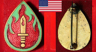 USA UNITED STATES ARMY 63rd INFANTRY DIVISION OLD ENAMELLED BADGE BLOOD &. FIRE