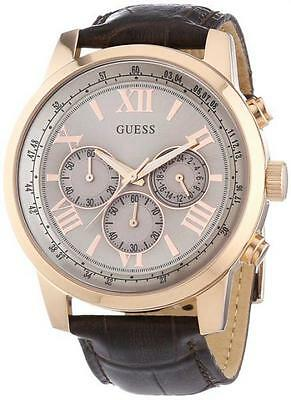 Men Wristwatch Guess Horizon W0380G4 Chronograph classic brown Leather sale wk