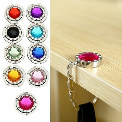 Portable Foldable Folding Crystal Alloy Purse Handbag Hook Hanger Bag Holder New