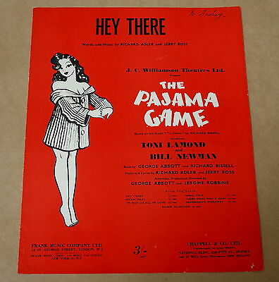 Vintage Sheet Music * Hey There * The Pajama Game *  1954