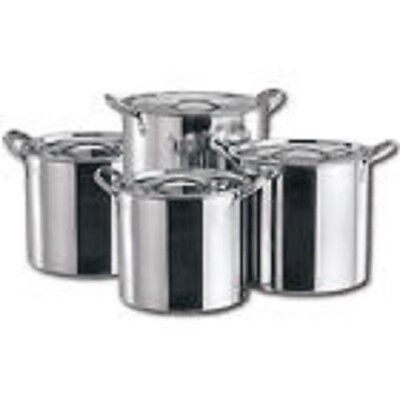 New 4Pc Large Stainless Steel Catering Deep Stock Soup Boiling Pot Stockpots Set