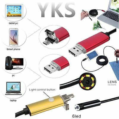 HOT 2/5/10M 6LED Waterproof USB Endoscope Inspection Borescope HD Camera Android