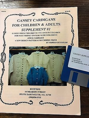 1996 Gansey Cardigans Adult/Child Pattern Book w/Disk Brother Knitting Machine