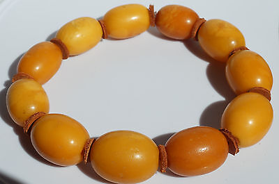 ANTIQUE BALTIC AMBER BRACELET 21 GR. BEESWAX COLOR. Amber777.com