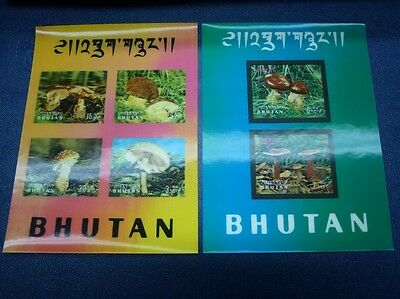 Bhutan 1973 Pilze Funghi Mushrooms 3-D Block 61-62 ** MNH RAR