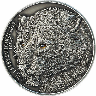1.000 Burkina Faso High Relief 2013 Smilodon Baby mit Real Eye Effect