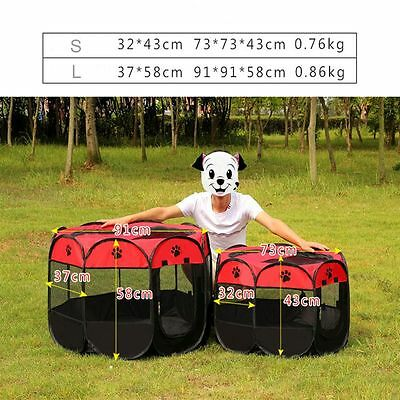 Supplies Red And Black Playpen Folding Kennel Dog Cage Puppy