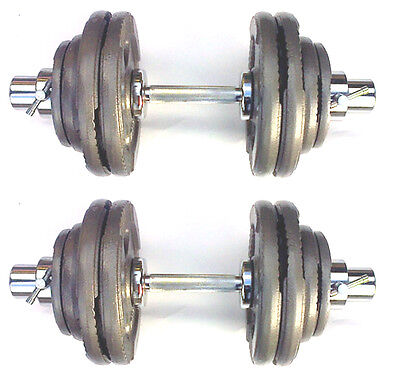 60KG Olympic Dumbbells 2 x 30kg Set, Tri-Grip Iron Weight Disc Plates, Springs