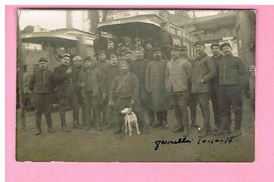 Cpa  - Carte Photo  -  Versailles - 78 -  Tramway  - Militaires