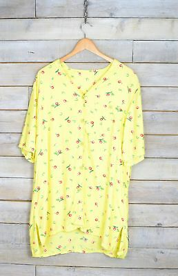 Vintage Canary Yellow Fruit Patterned Shirt (L)