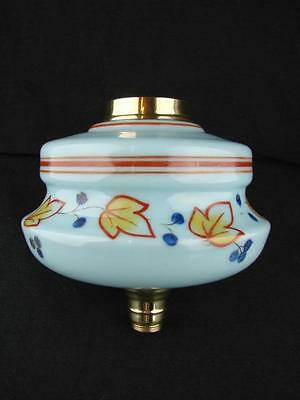 Turquoise Glass Oil Lamp Font Stylised Foliate Decoration Brass Ring, Undermount
