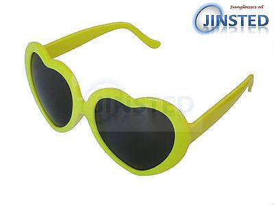 Lolita Yellow Heart Shaped Sunglasses Girls Womens Teenager Small Adult TH004