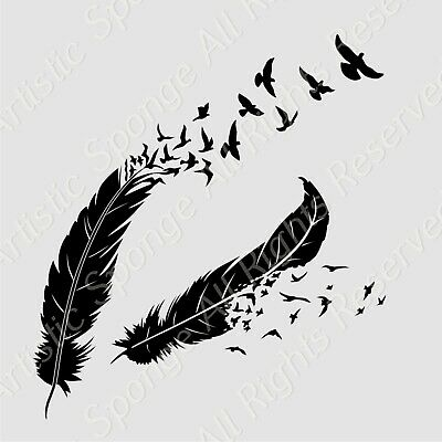 FEATHERS BIRDS Reusable Stencil A3 A4 A5 Romantic Shabby Chic Craft DIY  Deco42