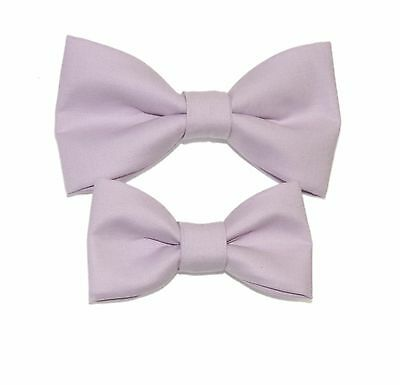 Father / Toddler Son Matching Orchid Purple Cotton Clip On Bow Ties