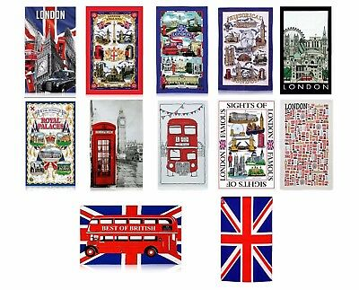 London England Kitchen Tea towels 100% cotton Bus union jack Big Ben landmarks