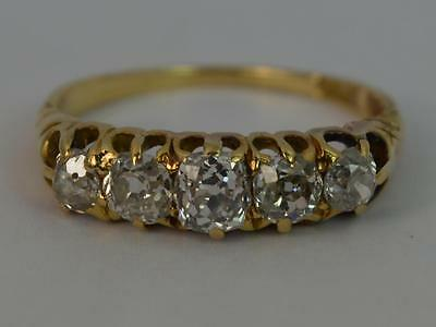 Victorian 0.85ct Diamond 18ct Gold Ladies Five Stone Ring D0985
