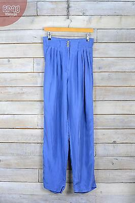 Vintage Azure Blue Silk Straight Leg Trousers (W29 L30) (12)