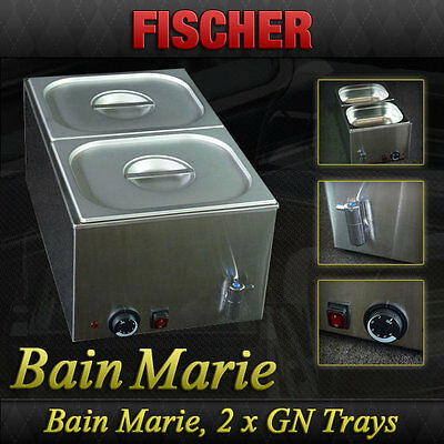 """""""new"""" - Stainless Steel Hot Food Warmer Bain Marie Incl 1/2 Gn Trays - 8710.1.2"""