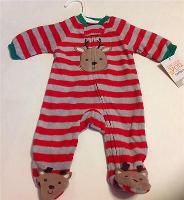 Carter's Baby Infant Christmas Reindeer Footed One-Piece Pajama PJ Newborn NEW
