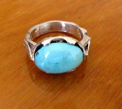 Vintage Persian Turquoise 925 Sterling Silver Ring, Genuine Hossini Naishapur