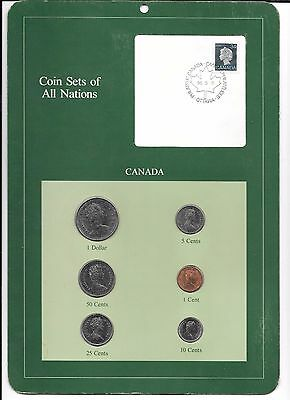 Coin Sets of All Nations, Canada, w/ stamp, 6 coins, Issued 1986