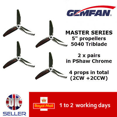 "Gemfan Master Series Quad Props 5"" M5040-3P 3 Blade 5040 PShaw Chrome UK Racing"