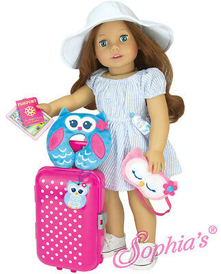 """Travel & Play 7 Piece Set fits 18"""" American Girl Dolls Luggage suitcase vacation"""