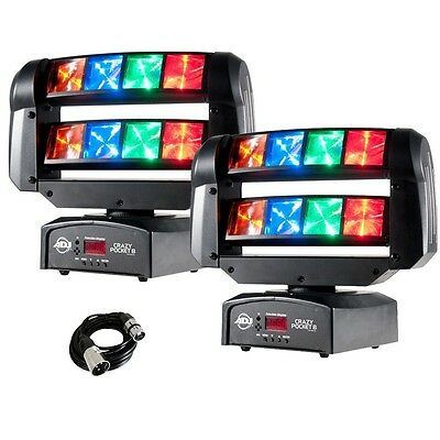 2x American DJ Crazy Pocket 8 Moving Head Disco Lighting Effect with Cable