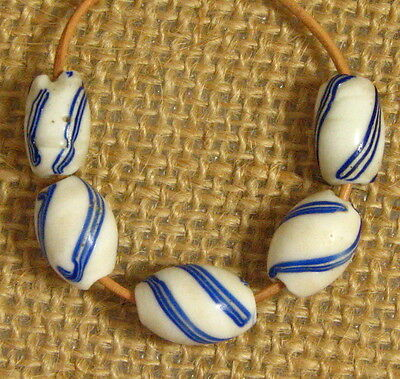 5 Old Blue Stripes on White Glass DUTCH SWIRL African Trade Beads