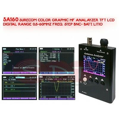 Sa160 Color Graphic Hf Analayzer Tft Lcd Digital Range 0,5-60Mhz Freq. Step Bnc-