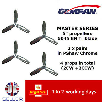 "Gemfan Master Series Quad Props 5"" 5045 BN 3 Blade PShaw Chrome UK FPV Bullnose"